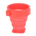 Outdoor Portable Foldable Silicone + Plastic Cup - Red (170ml)