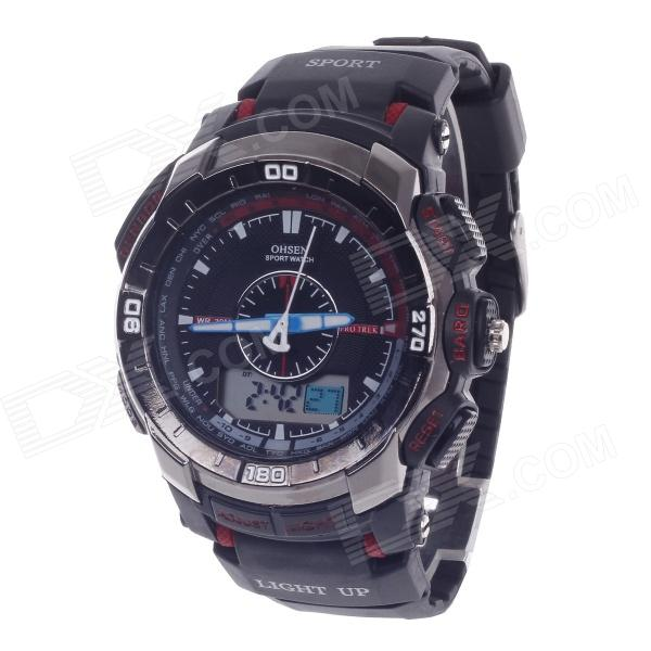 OHSEN AD1308 Men's Sport Analog + Digital Quartz Wrist Watch - Black + Red (1 x CR-2025) splendid brand new boys girls students time clock electronic digital lcd wrist sport watch