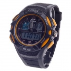 OHSEN AD1301 Men's Sport Analog + Digital Quartz Wrist Watch - Black + Yellow (1 x CR-2025)