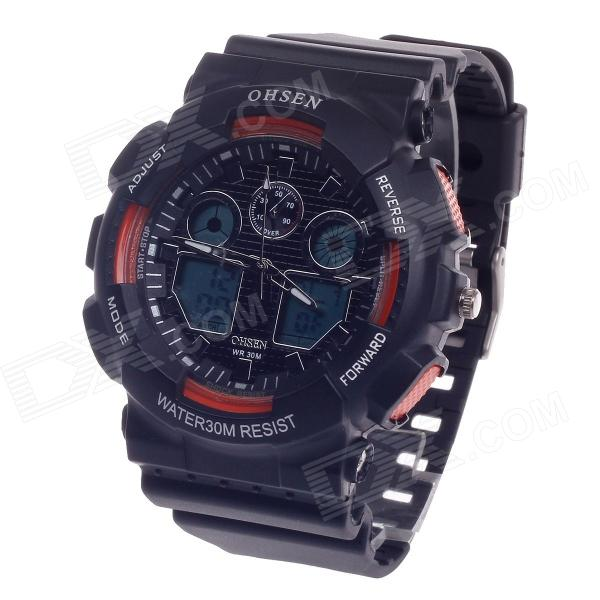 OHSEN AD1012 Men's Sport Analog + Digital Quartz Wrist Watch - Black + Orange (1 x CR-2025)