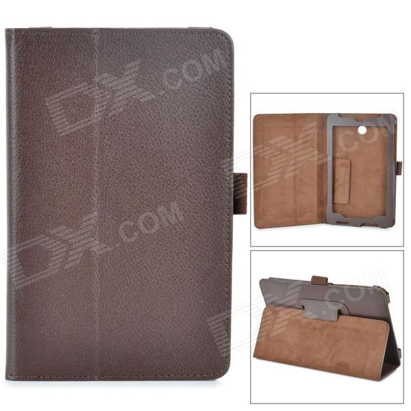 Lychee Grain Style PU Leather Case w/ Stylus Pen Holder for Asus FonePad HD 7 ME372CG - Chocolate lychee grain style protective pu leather case w card holder slots for google nexus 5 white