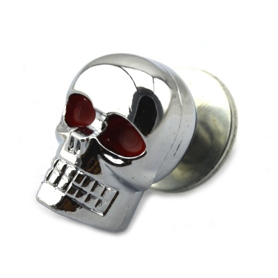 Jtron Skull Style Decorated DIY Screw for Harley Motorcycle - Silver + Red