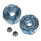 CG04YW001 Synthetic Foamed Sponge Handlebar Cover Strips - Blue + White (2 PCS)