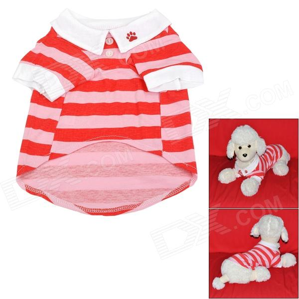 Red Strip Pattern Cotton T-shirt for Dog - White + Pink (Size M)