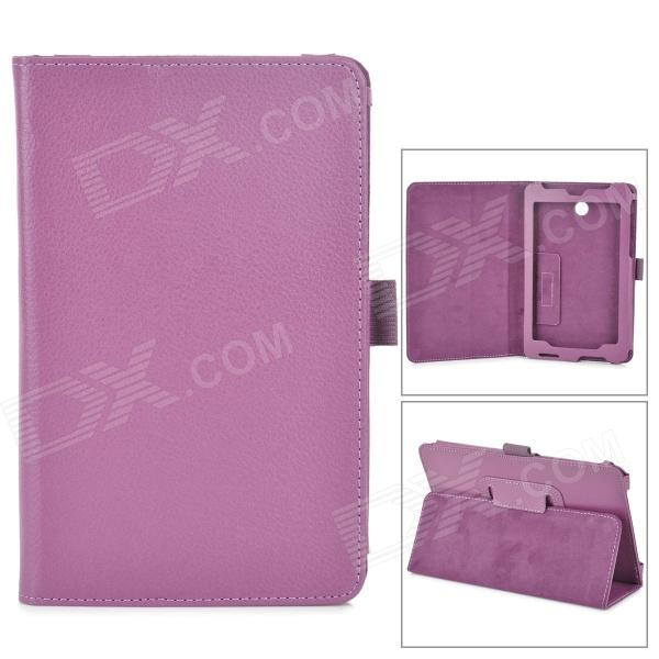 Lychee Grain Style PU Leather Case w/ Stylus Pen Holder for Asus FonePad HD 7 ME372CG - Purple lychee grain style protective pu leather case w card holder slots for google nexus 5 white