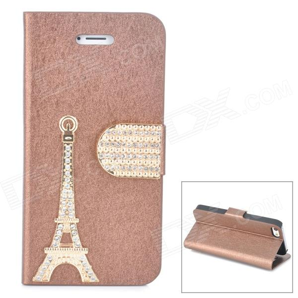 PUDINI WB-IP5G Rhinestone Eiffel Tower Style PU Leather Case for Iphone 5 - Brown + Golden pudini wb ip5g rhinestone eiffel tower style pu leather case for iphone 5 brown golden