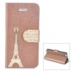 PUDINI WB-IP5G Rhinestone Eiffel Tower Style PU Leather Case for Iphone 5 - Brown + Golden