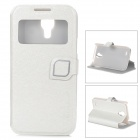 HELLO DEERE Protective PU Leather Case w/ Display Window for Samsung Galaxy S4 Mini - White