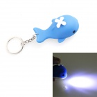 002 Small Whale Style LED Light Key Chain w/ Sound Effect - Blue + White (3 x CR2032)