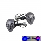 DTY Skull Style 1W 60lm 4-LED Red + Blue Light Decorative Lamp for Motorcycles - Grey (2 PCS / 12V)