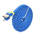 Micro USB Male to USB Male Data Charging Nylon Cable for Samsung / HTC - Blue + Yellow (195cm)
