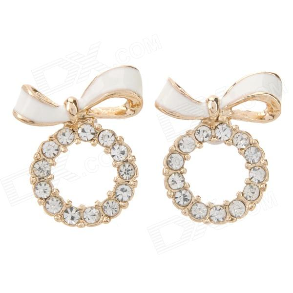 SHIYING D05454 Bow Wreath Style Zinc Alloy Stud Earrings for Women - White + Golden (2 PCS)