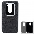 ROCK Stylish Flip-open PU + Superfine Fiber Case w/ Holder + CID Window for LG G2 - Black