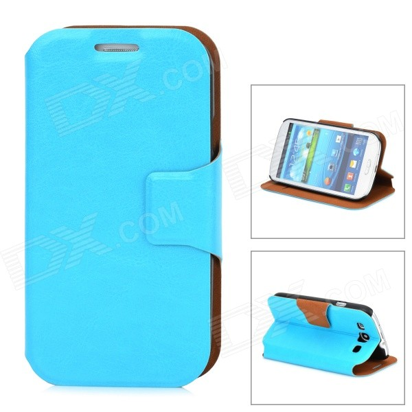 Protective PU Leather Flip Open Case w/ Stand for Samsung Galaxy S3 / i9300 - Blue cool snake skin style protective pu leather case for samsung galaxy s3 i9300 brown