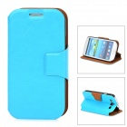 Protective PU Leather Flip Open Case w/ Stand for Samsung Galaxy S3 / i9300 - Blue
