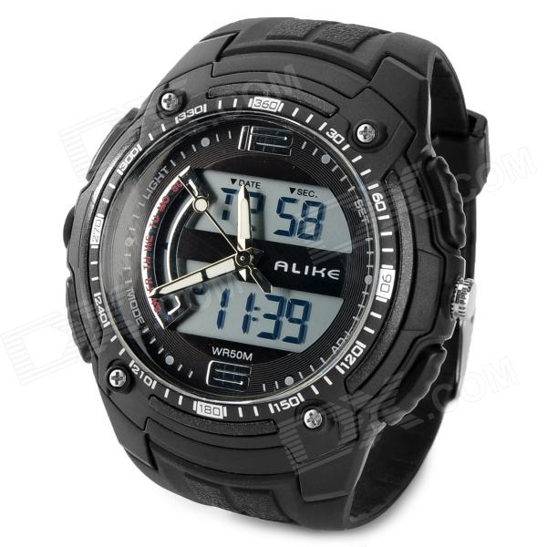 ALIKE AK1282 Sport Plastic Case Rubber Band Quartz Analog Digital Wrist Watch for Men - Black splendid brand new boys girls students time clock electronic digital lcd wrist sport watch