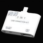 Universal 3-in-1 Micro USB OTG Adapter w/ Micro USB / TF / SD / MMC / USB - White (32G Max.)