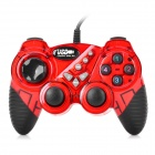 JIETEMEI 906 USB 2.0 Wired Single Player Double Shock Controller for PC Game - Red + Black