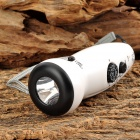 TEKNIKA DR-380 Outdoor Rechargeable Hand-Crank LED Flashlight Emergency Light - White + Black