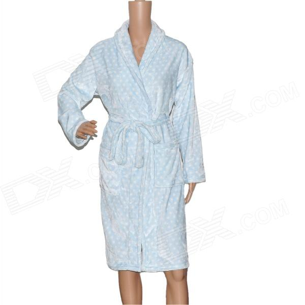LX-130 Thicken Coral Fleece Bathrobe - Light Blue + White