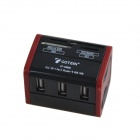 GT-C9866 Multifunction 3-Port USB 2.0 Hub + M2 / MS / TF / MMC / SDHC Card Reader - Black + Red