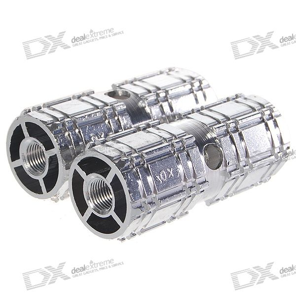 Aluminum Bicycle Axle Foot Pegs (Pair / Silver)