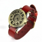 Retro hohl Art PU-Leder-Band der Frauen Quarz Analog Armbanduhr - Bronze + Rot (1 x 377)