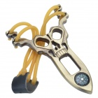 DAMOFENGLANG Ghost Head Style Zinc Alloy Slingshot w/ Compass - Copper