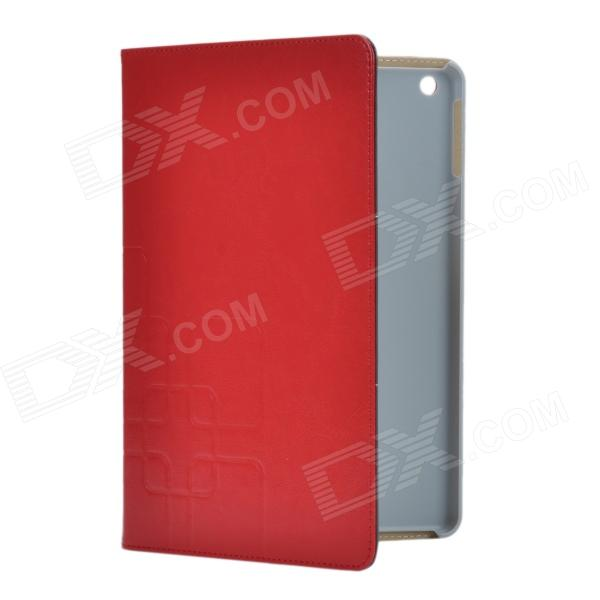 3-Folding Protective PU Leather Case Cover Stand for Ipad AIR - Deep Red soft grid pattern protective pu leather tpu case cover stand for ipad air red