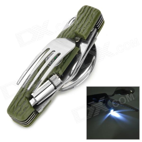 Outdoor Multifunction Stainless Steel + Plastic Fork / Spoon / Knife Tool Set - Army Green + Silver outdoor portable multifunctional steel tool silver