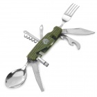 Outdoor Multifunction Stainless Steel + Plastic Fork / Spoon / Knife Tool Set - Army Green + Silver