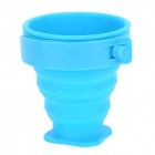Outdoor Portable Foldable Silicone + Plastic Cup - Blue (170ml)
