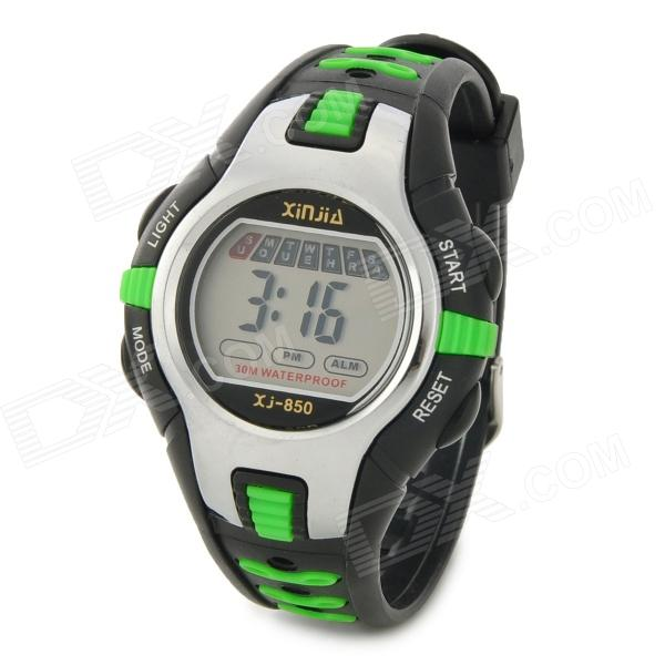 XINJIA Waterproof Sport Rubber Band Digital Wrist Watch - Black + Green (1 x 626)