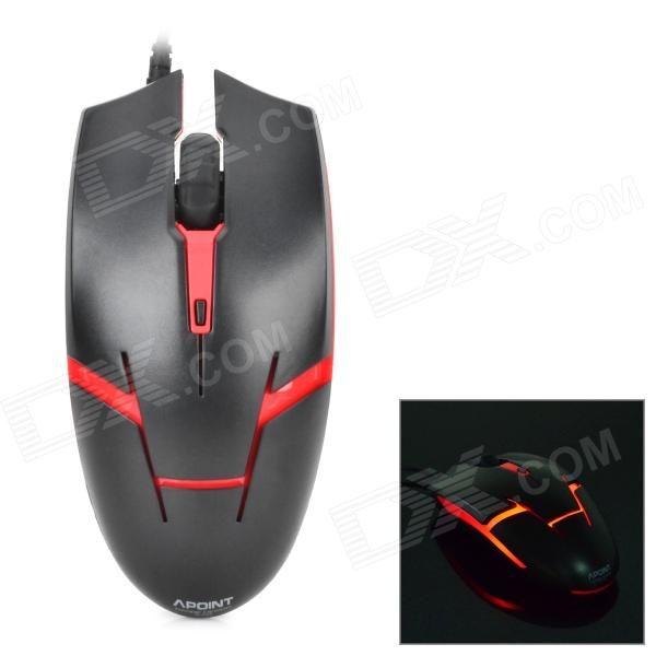 Apoint M1 Universal USB 2.0 Wired Optical Mouse - Black + Red (140cm)
