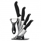 "6-in-1 6"" + 5'' + 4"" + 3"" Ceramic Knives + Peeler Set w/ Holder - Black + White"