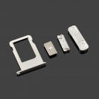 Replacement SIM Card Tray + Volume Button + Mute Button + Switch Button for White Iphone 5S - Silver