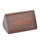 Cheerlink 10.2'' Modern Triangle Style Wooden Clock w/ Touch Control Red Light - Brown (4 x AAA)
