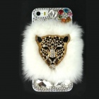 Leopard Head Rhinestone Style Protective PC Back Case for Iphone 5S - White
