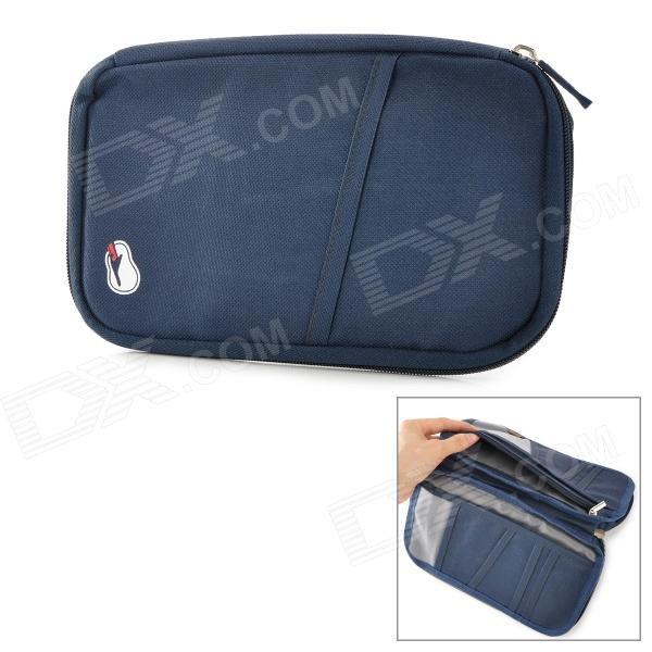 Multifunction Oxford Ticket / Passport / Money Wallet / Purse Bag - Deep Blue