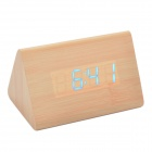 Cheerlink 10.2'' Modern Triangle Style Wooden Clock w/ Touch Control Blue Light - Wooden (4 x AAA)