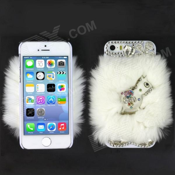 Rhinestone Cockhorse Style Genuine Rabbit Hair Protective ABS Back Case for Iphone 5S - White 2017 winter new clothes to overcome the coat of women in the long reed rabbit hair fur fur coat fox raccoon fur collar