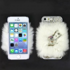 Rhinestone Cockhorse Style Genuine Rabbit Hair Protective ABS Back Case for Iphone 5S - White
