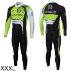 Veobike Ghost Men's Cycling Sweat Suit - Black + Green + White (Size XXXL)