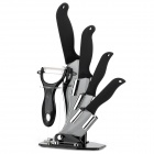 "6-in-1 6"" + 5"" + 4"" + 3"" Ceramic Knives + Peeler Set w/ Holder - Black + Silver"