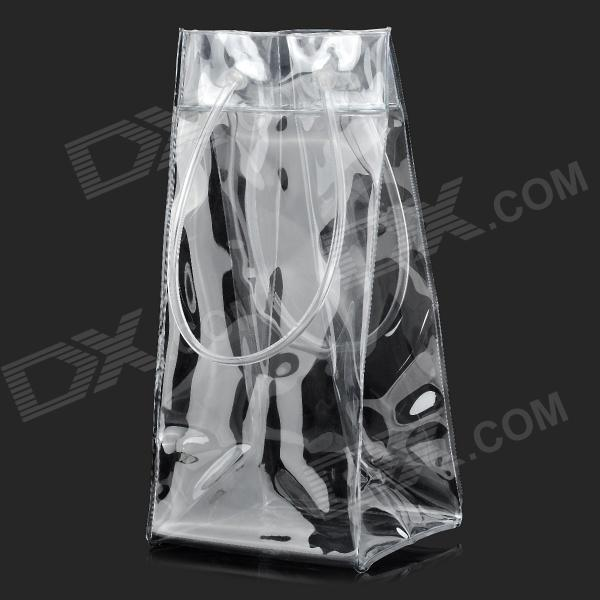 Portable Environmental PVC Red Wine Ice Bag - Transparent sw ud01 portable detachable red wine decanter aerator filter red transparent