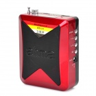 Ahma AH-003 Portable 2-CH TF Speaker w/ FM Radio - Red + Black (8 GB)