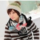 Snowflake Pattern Winter Warm Woolen Yarn Scarves for Women - Multicolored