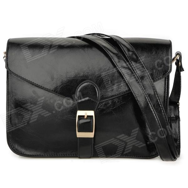 Fashion PU Shoulder Bag for Women - Black