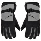 Outdoor Skiing Full Fingers Anti-Slip Hands Warmer Gloves - Grey + Black (Free Size / Pair)
