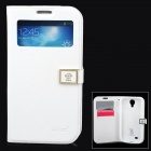 Ailun Stylish Flip-open PU Leather Case w/ CID Window for Samsung Galaxy S4 i9500 - White